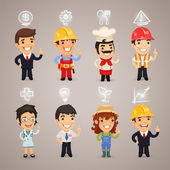 Professions Characters with Icons — Stock Vector