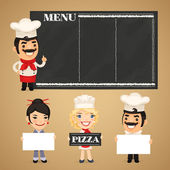 Chefs Presenting Empty Banners — Stock Vector
