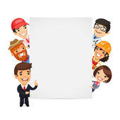 Diverse Professional Presenting Empty Vertical Banner — Stock Vector