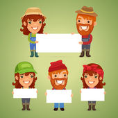 Farmers With Blank Placards — Stock Vector