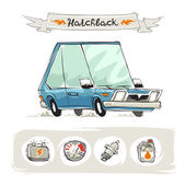 Retro Small Hatchback Set — Stock Vector