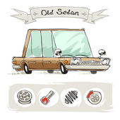 Old Cartoon Sedan Set — Stock Vector