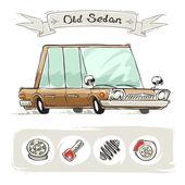 Old Cartoon Sedan Set — Stock Vector