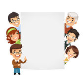Teachers Presenting Empty Vertical Banner — Stock Vector