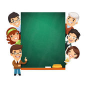 Teachers Presenting Empty Chalkboard — Stock Vector