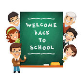 Teacher Points to the Blackboard with Welcome Back to School Phr — Stock Vector