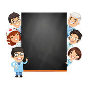 Doctors Presenting Empty Blackboard — Stock Vector