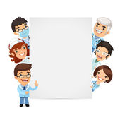 Doctors Presenting Empty Vertical Banner — Stock Vector