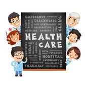 Doctors Presenting Health Care Poster — Stock Vector