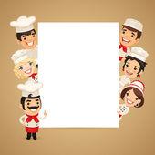 Chefs Presenting Empty Vertical Banner — Stock Vector