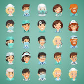 Doctors Cartoon Characters Icons Set — Stock Vector