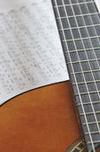 Acoustic guitar with tablature — Stock Photo