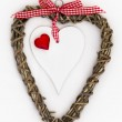 Wooden Heart with Red Heart and Ribbon — Stock Photo