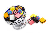 Licorice Allsorts in a Silver Bowl — Stock Photo