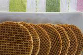 Dutch Waffles (Stroop Wafels) on a platter — Stock Photo
