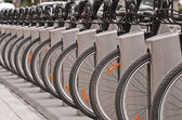 Bicyles in a docking station — Stock Photo