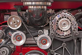 V-8 engine drive pulleys — Stock Photo