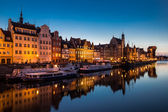 Gdansk harbor at Motlawa river, Gdansk, Poland, night shot — Stock Photo