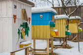 Beehives in the apiary in winter close-up — Stock Photo