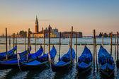Gondolas at dawn, Venice, Italy - view at San Giorgio Maggiore — Stock Photo