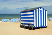 Blue stripped beach cabin, Northsea, De Panne, Belgium — Stock Photo