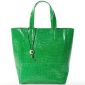 Green women bag, fashion 2014, isolated on white — 图库照片