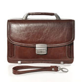 Men's brown bag on white background — Stock Photo