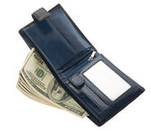 Open blue leather wallet with money — Stock Photo