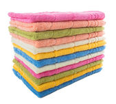 Stack of colorful towels  isolated on a white background — Zdjęcie stockowe
