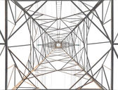 Under-To-Top structural scenery of an electric pole on white background — Stock Photo