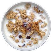 Crunches with milk, healthy breakfast, muesli — Zdjęcie stockowe