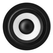 Close up of audio black loudspeaker isolated white — Stock Photo