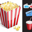 Stock Vector: Cinemsymbols. 3-d glasses, ticket, soda, popcorn