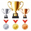 Trophy cups and medals — Stock Vector #40852239