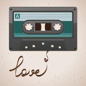 Audio cassette tape on old paper. Film written love — Stock Vector
