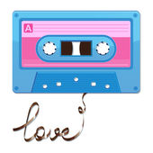 Audio cassette tape. Film written love — Stock Vector