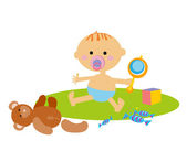 Baby with toys — Stock Vector