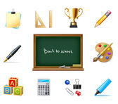 Back to school vector background with education icons — Stock Vector