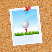 Board with a photo a Golf ball on a tee on a grass with red thumbtack — Stock Vector
