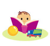 Cute little boy with book and toys — Stock Vector