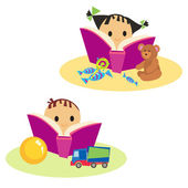 Book a boy and a girl — Stock Vector