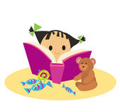 Cute little girl with book and toys — Stock Vector