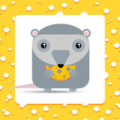 Cartoon mouse eating cheese. — Stock Vector