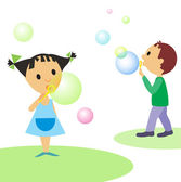 Cute children and multicoloured bubbles — Stock Vector