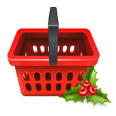 Christmas Sale. Shopping basket icon with the mistletoe — ストックベクタ