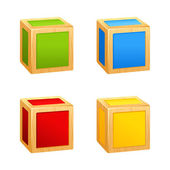 Colored wooden cubes icon. box — Stock Vector
