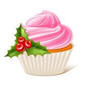 Christmas cupcake with mistletoe — Stock Vector