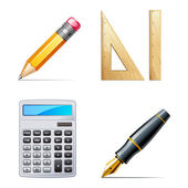 Education icons. Pencil, pen, calculator, ruler — Vector de stock