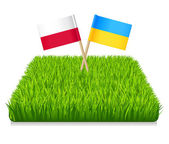 Flags toothpick Ukraine and Poland. — Stock Vector