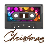 Audio cassette tape. Film written Christmas — Stock Vector